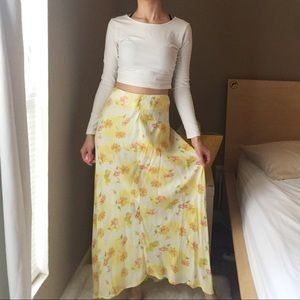 Vintage Floral Lemon Yellow Maxi Skirt